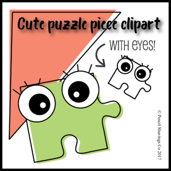 Piece with eyes . Puzzle clipart cute