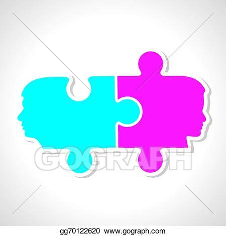 Vector stock male female. Puzzle clipart face