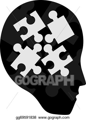 Puzzle clipart face. Eps vector stock illustration