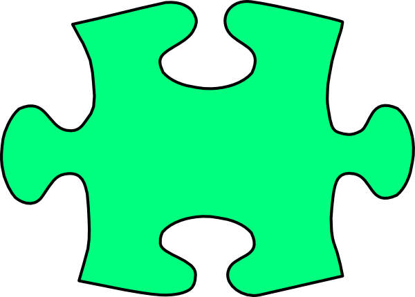 Jigsaw piece large clip. Puzzle clipart green