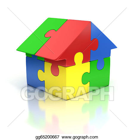Puzzle clipart home. Stock illustration house d