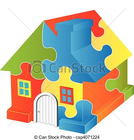 Puzzle clipart home. Vector house stock illustration