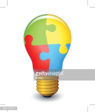 Glowing lightbulb premium clipartlogo. Puzzle clipart light bulb