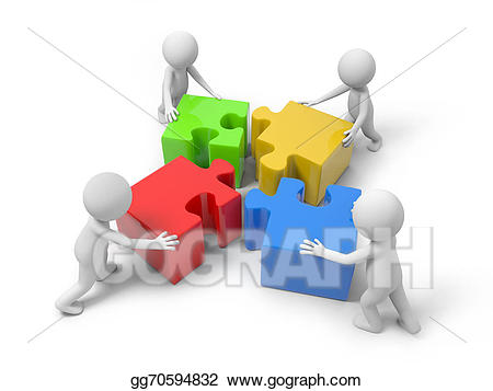 Puzzle clipart man. With pieces stock illustration