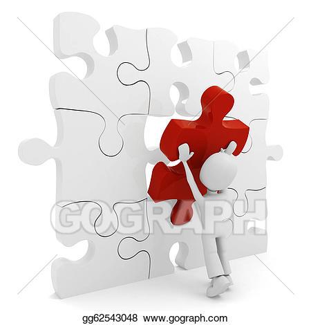 Puzzle clipart man. D pushing a piece