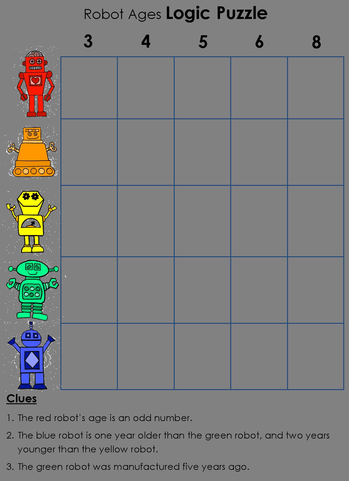 Puzzle clipart math puzzle. Logic robot school age