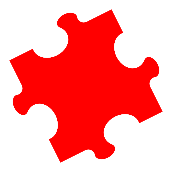 Puzzle clipart p word. Red jigsaw clip art