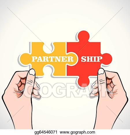 Vector art partnership piece. Puzzle clipart partner