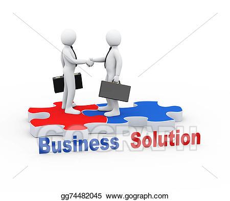 Puzzle clipart partner. D business on piece