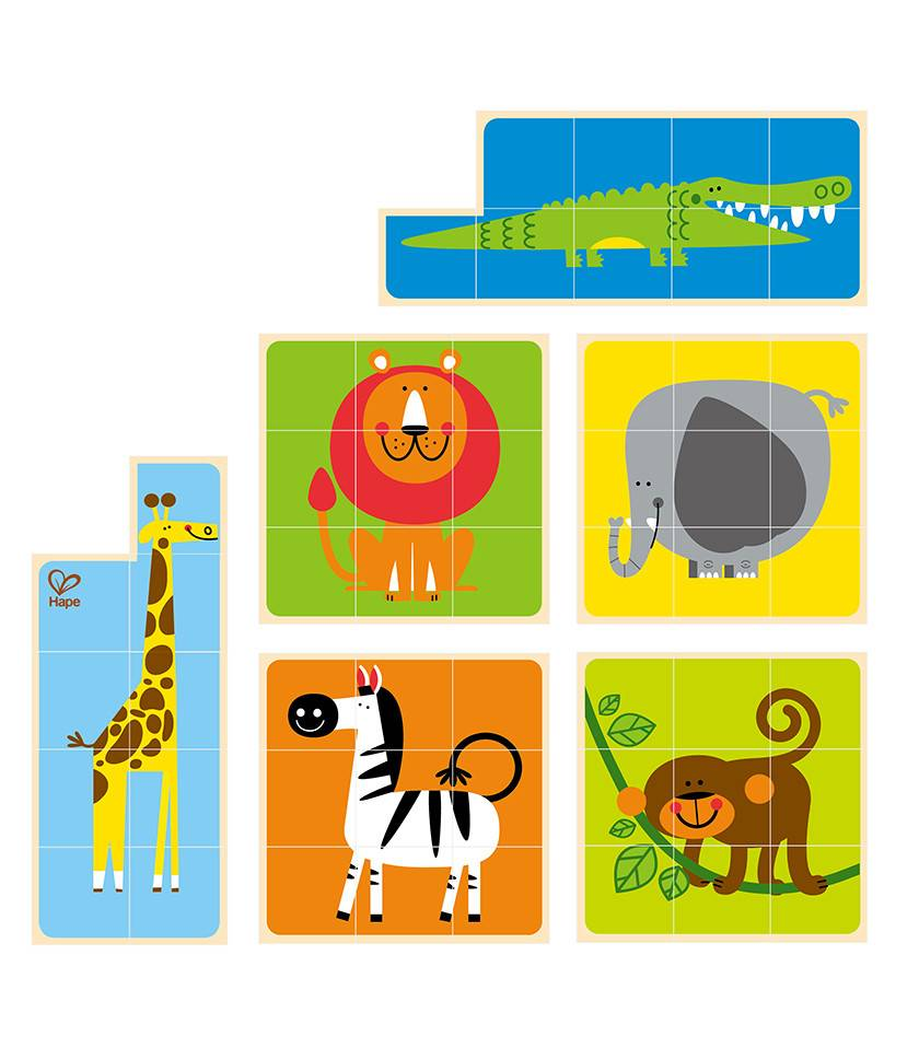 Zoo animals by hape. Puzzle clipart playing block