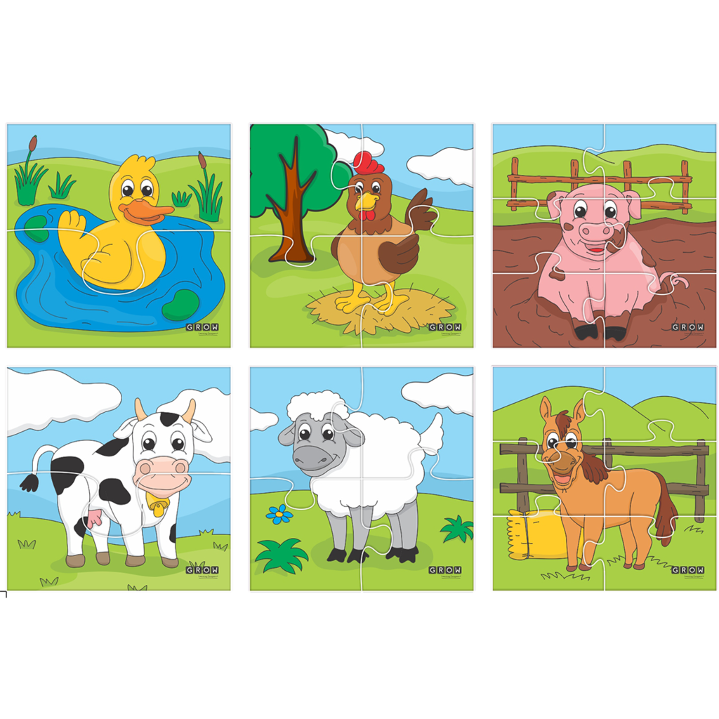 Animals farm grow learning. Puzzle clipart playtime