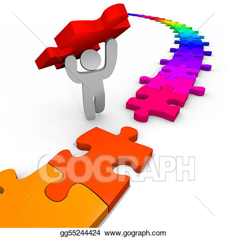 Puzzle clipart puzzle person. Stock illustration lifts piece