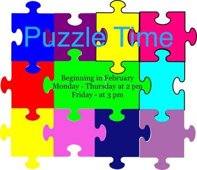 Puzzle clipart puzzle time. Alexander public library