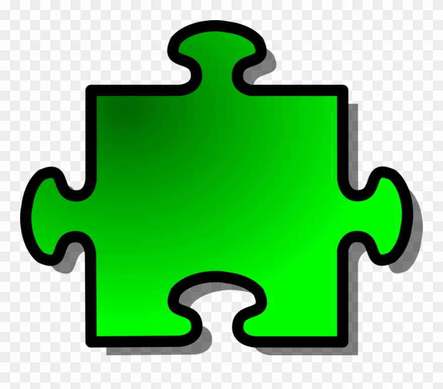 Jigsaw piece green join. Puzzle clipart shape