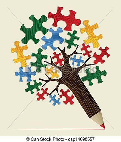 Puzzle clipart special education. Vector of jigsaw strategic