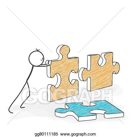 Vector art cartoon stickman. Puzzle clipart stick figure