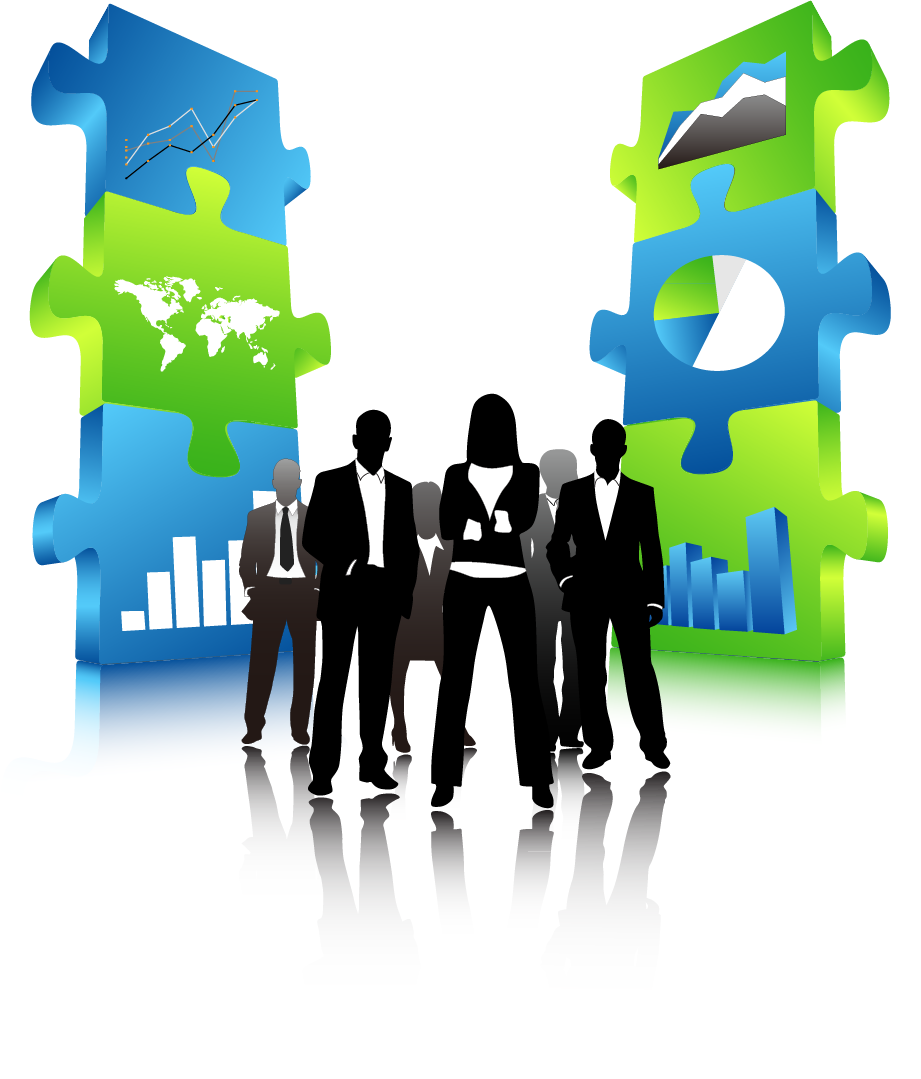 Puzzle clipart teamwork. Business team silhouette at