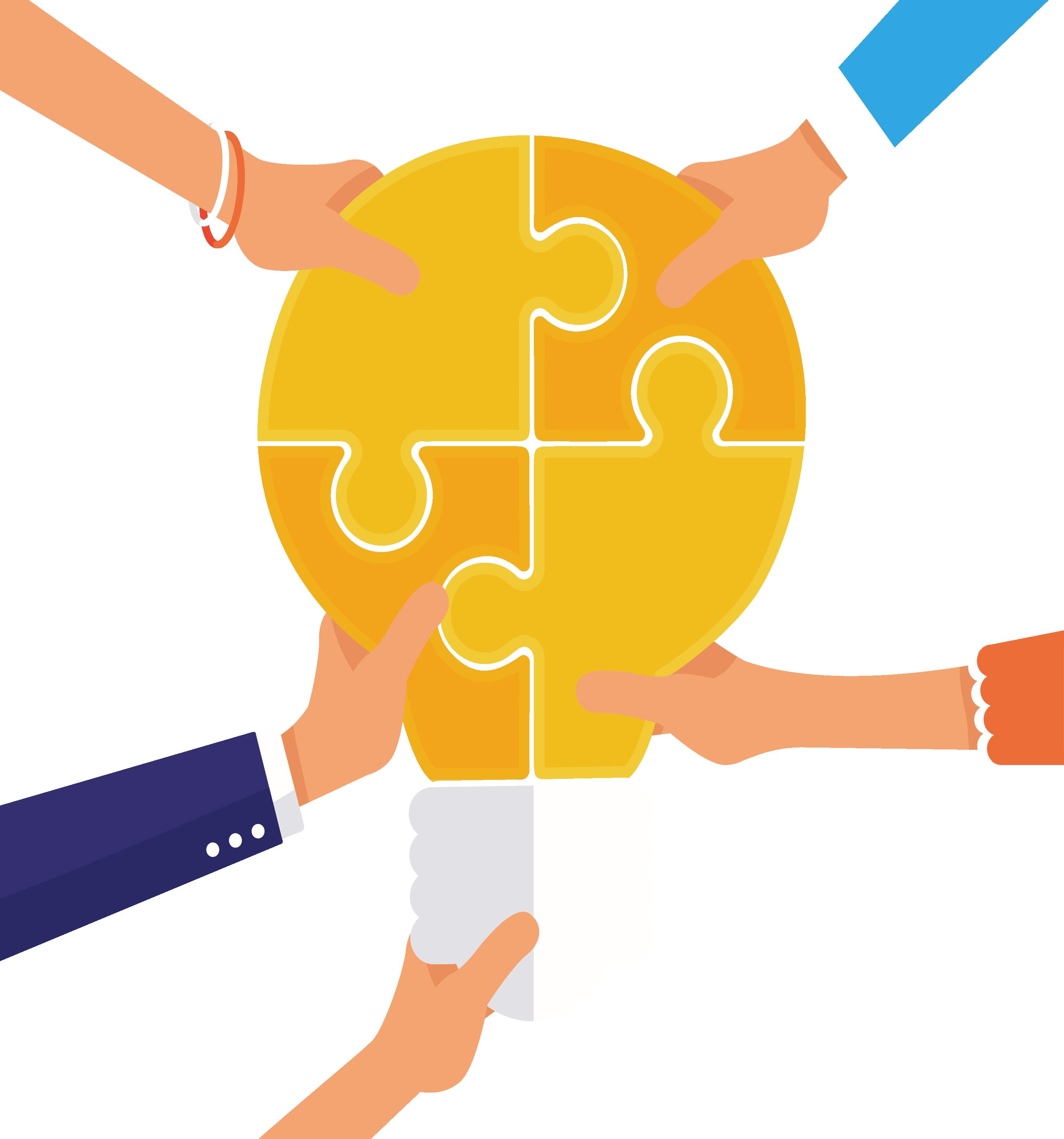 Teamwork clipart puzzle. Clip art yellow light