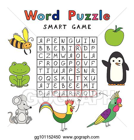 Puzzle clipart word puzzle. Vector funny animals smart