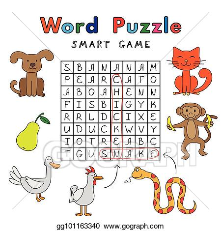 Vector funny animals smart. Puzzle clipart word puzzle