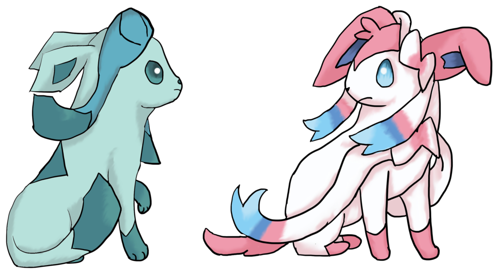 Quail clipart chibi. Glaceon and sylveon by