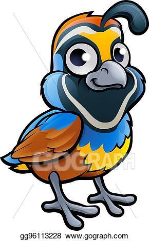 Quail clipart kid. Eps illustration bird cartoon