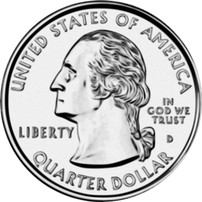 United states quarter front. Nickel clipart american coin