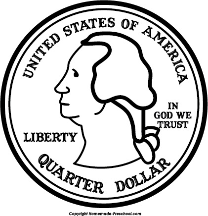 Black and white letters. Quarter clipart
