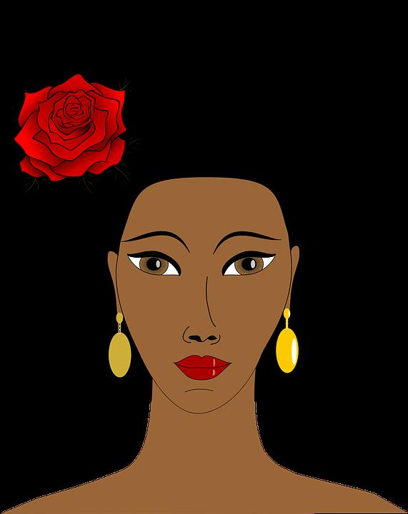 Black cartoon faces group. Queen clipart afro