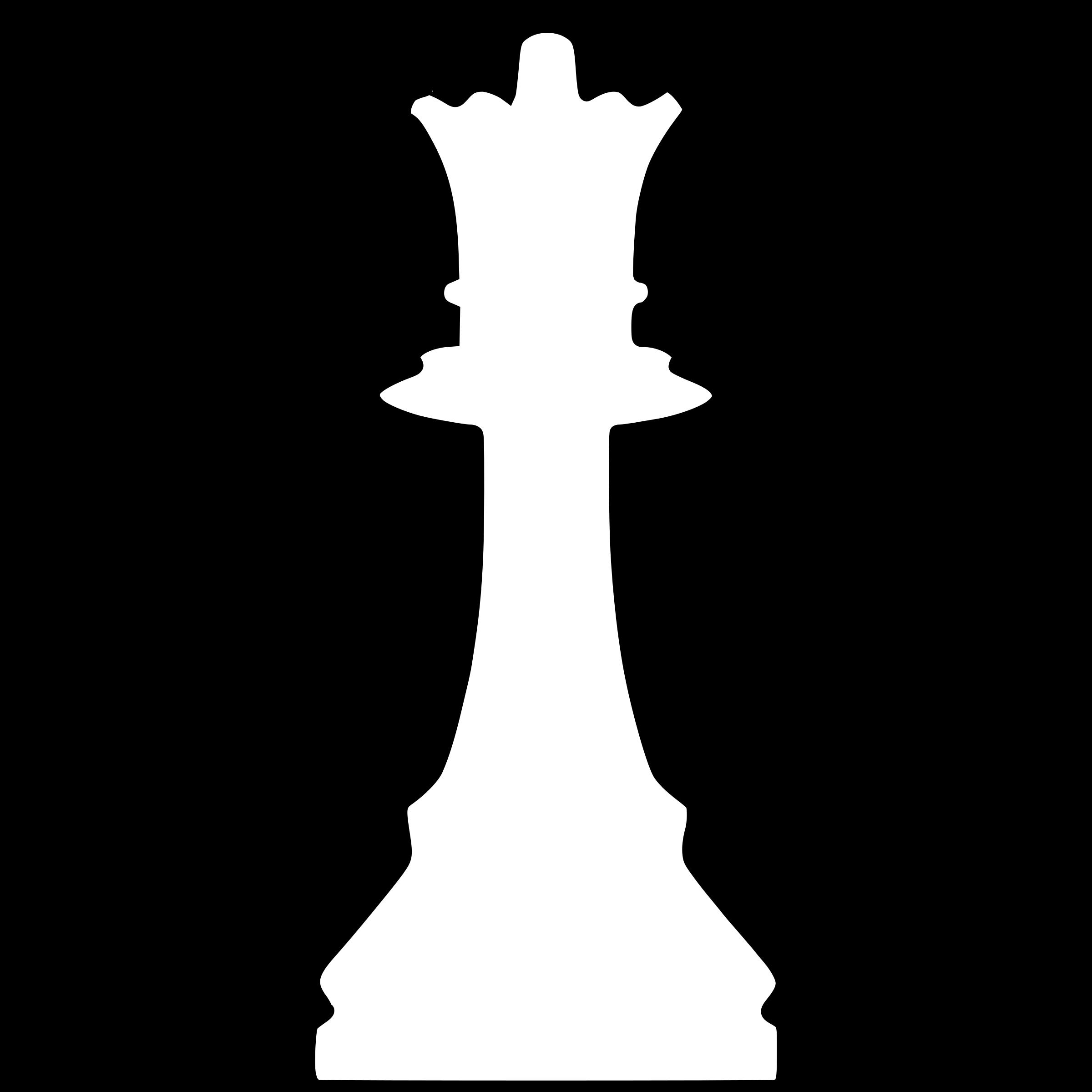White silhouette remix dama. Queen clipart chess piece