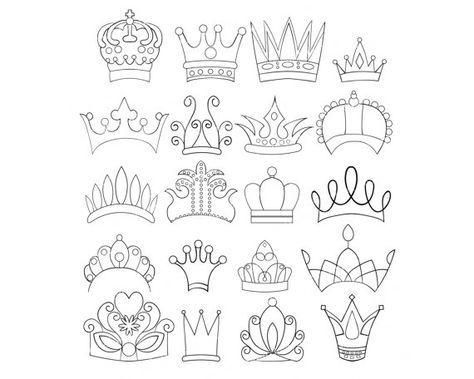 Set of doodle crowns. Queen clipart drawing