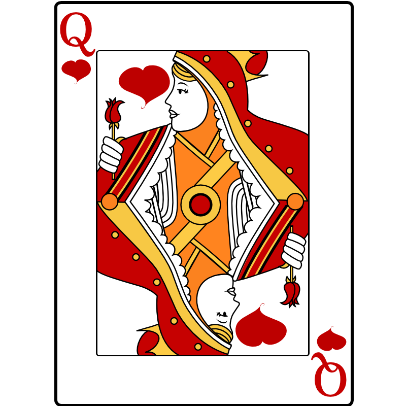 Free people playing cards. Queen clipart face