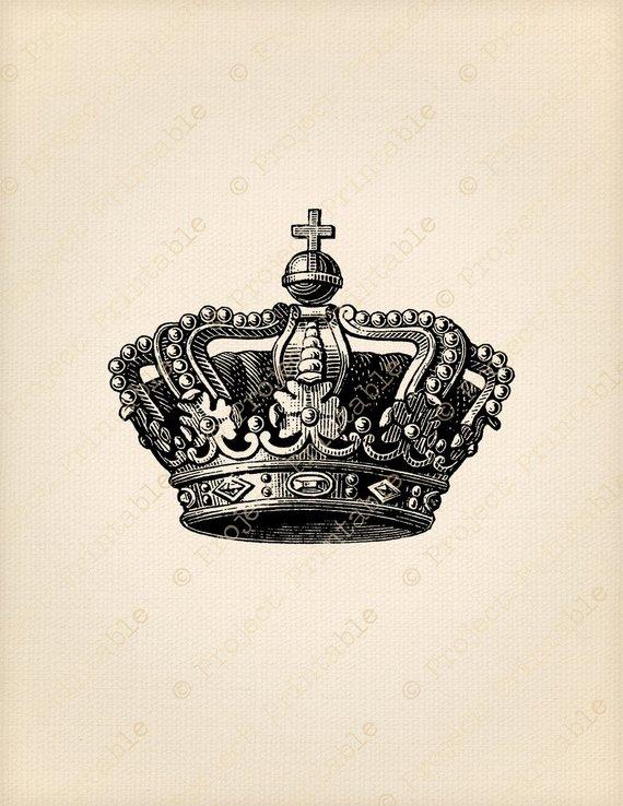 Queen clipart printable. Instant download crown graphics