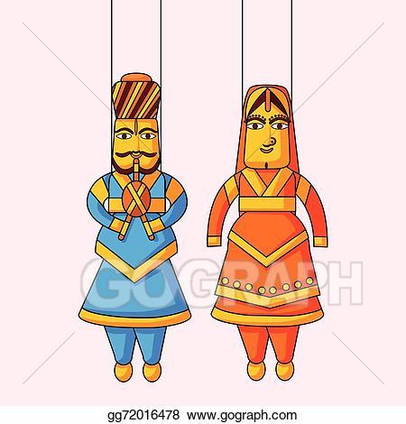 Eps illustration puppet of. Queen clipart queen indian