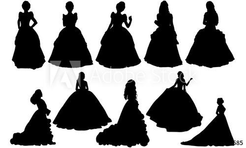Princess cinderella vector costume. Queen clipart silhouette