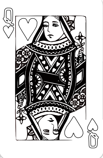 Queen of hearts card png. Coloring page clip art