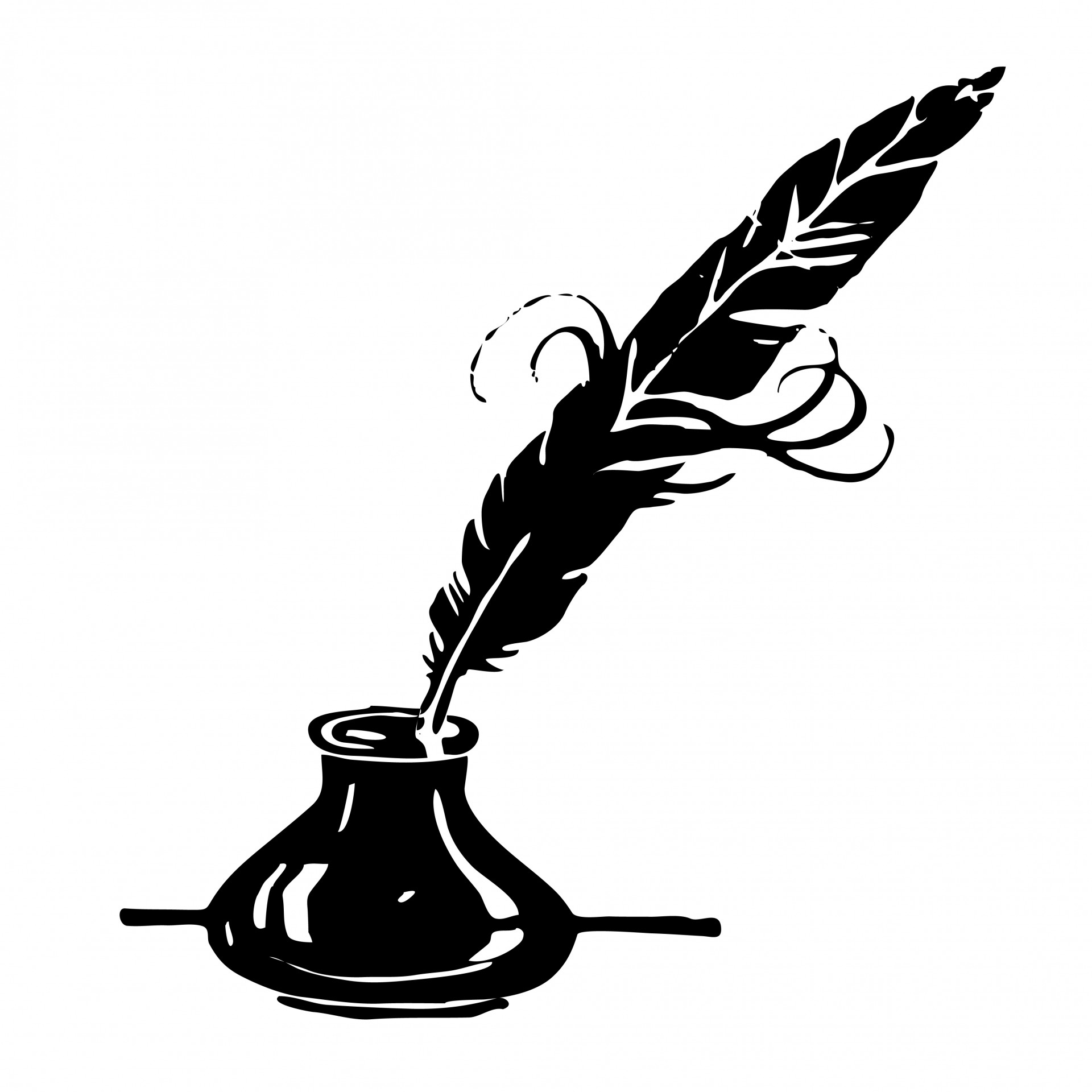 2 clipart feather. Ink quill free stock