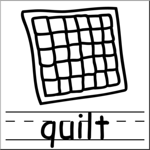 Quilt black and white. Quilting clipart clip art