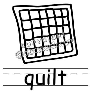 Black and white free. Quilt clipart line art