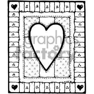 Quilt clipart line art. Black white heart design