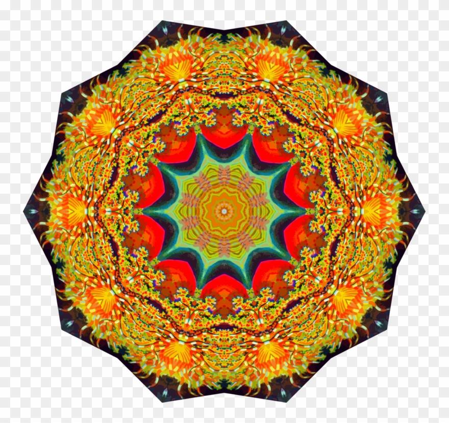 Textile symmetry kaleidoscope illustration. Quilt clipart orange