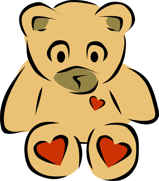 I love you teddy. Quilt clipart orange