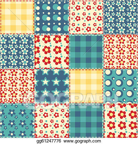 Vector stock seamless pattern. Quilt clipart quilt background