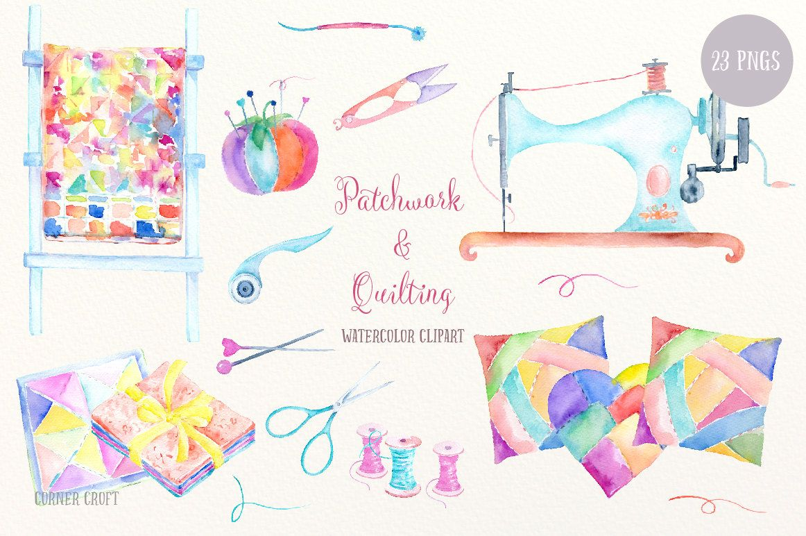 Watercolor clip art patchwork. Quilting clipart quilting tool