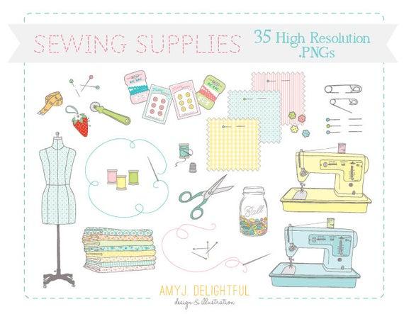 Quilt clipart sewing supply. Supplies clip art set