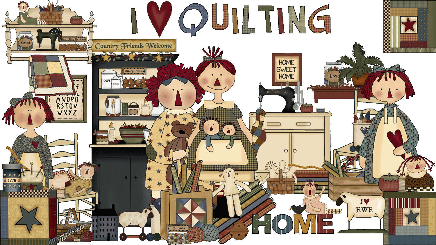 Quilt clipart stitching clothes. Atelier sweet country sewing