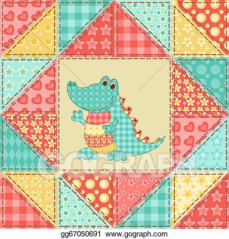 Quilt clipart vector. Crocodile pattern