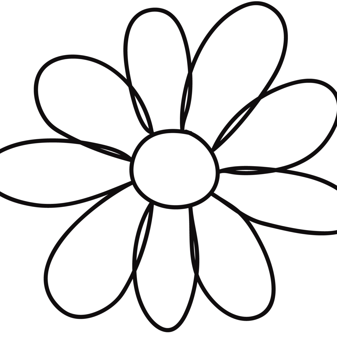 petal flower template. Quilting clipart black and white