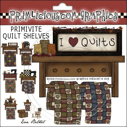 Quilting clipart country. Primitive quilt shelves graphics