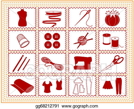 Vector sewing tailoring knit. Quilting clipart craft